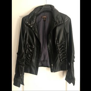 Danier Leather Jacket w Ruffle Details